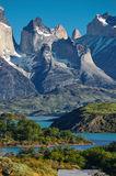 Patagonia. Torres del Paine National Park is a national park encompassing mountains, a glacier, a lake, and river-rich areas in southern Chilean Patagonia. The stock photo