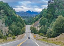 Patagonian Highway, Los Lagos, Chile. Leafy patagonian highway at chilean territory royalty free stock photo