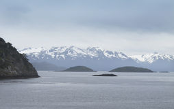 Patagonian landscape with lake and mountains. Stock Photography