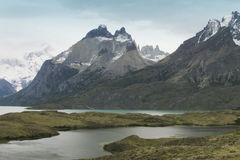 Patagonian landscape with lake and mountains. Torres del Paine Stock Images