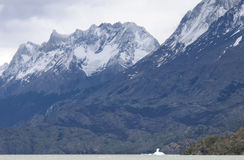 Patagonian landscape with mountains and lake. Chile. Royalty Free Stock Image