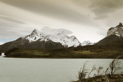 Patagonian landscape with mountains and lake Stock Photography