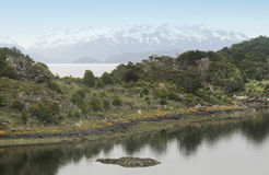 Patagonian landscape with mountains and lake Royalty Free Stock Photography