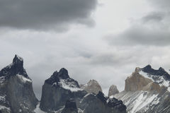 Patagonian landscape. Torres del Paine peaks. Chile. Horizontal royalty free stock photography