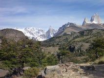 Patagonian mountain panorama in los glaciares park Royalty Free Stock Image