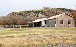 Patagonian Ranch. Made with logs and a horse under an awning Royalty Free Stock Image