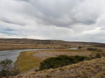 Patagonian river in Chile on a cloudy day stock photo