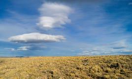 Patagonian steppe & clouds. In Santa Cruz, Argentina stock photo