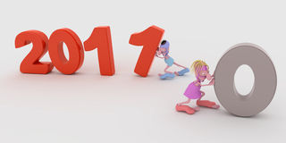 Patalocchi new year. Two 3d couple that are building the 2011 number vector illustration