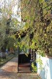 Patamar da casa de madeira, tempo do outono Fotos de Stock