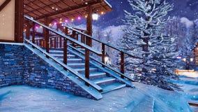 Patamar da casa rural metade-suportada no dia de inverno ilustração stock