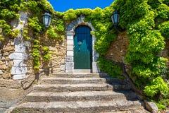 Patamar velho com porta verde Fotografia de Stock