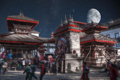 Patan. Ancient city in Kathmandu Valley. Nepal. night the starry sky and the moon is shining Royalty Free Stock Photos