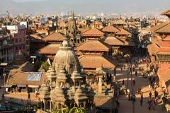 Patan Durbar广场的看法,在加德满都,尼泊尔 库存图片
