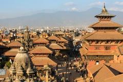 Patan Durbar广场的看法,在加德满都,尼泊尔 免版税库存照片
