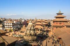 Patan Durbar广场的看法, 2013年12月5日在加德满都,尼泊尔 图库摄影