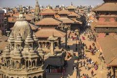 Patan Durbar广场的看法 它是3个皇家城市之一在加德满都,游人的一个非常普遍的斑点 免版税图库摄影
