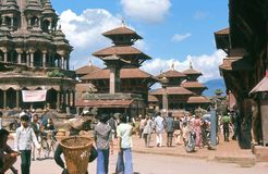 1975. Nepal. Patan, Katmandu. Patan Durbar Square, with its many Hindu and Buddhist temples Stock Photography