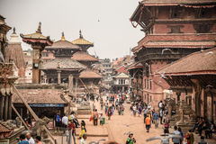 Patan Durbar Square in Kathmandu, Nepal. KATHMANDU, NEPAL - APRIL 17, 2016 : Patan Durbar Square after the earthquake on 25 April 2015. One of the three Durbar Stock Image