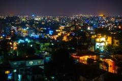 Patan e Kathmandu illuminati per Tihar Immagine Stock