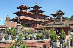 Patan, Nepal, garden in Royal Palace on ancient Durbar square.  In may 2015 square parti. Patan, Nepal, garden in Royal Palace on ancient Durbar square Royalty Free Stock Image