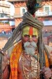 PATAN NEPAL, GRUDZIEŃ, - 21, 2014: Portret Sadhu Święty mężczyzna przy Durbar kwadratem Obrazy Royalty Free