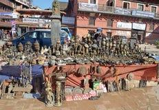 Patan, Nepal, October, 09, 2013, Nepali  Scene: people saling souvenires on the street of Bhaktapur Stock Image