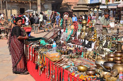 Patan, Nepal, October, 26, 2012, Nepali  Scene: woman saling souvenires on Durbar square in Patan Stock Photography