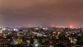 Patan och Katmandu stad på natten Fotografering för Bildbyråer