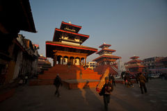 Patan Palace Square. In addition to the ancient palace, the temples everywhere, is Nepal's most amazing, Niu Wali architecture of the big meets. Rectangular Stock Image