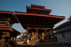 Patan Palace Square. In addition to the old palace, the temples everywhere, is Nepal's most amazing Niu Wali architecture of the big meets. Rectangular plaza Royalty Free Stock Image