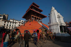 Patan Palace Square. In addition to the old palace, the temples everywhere, is Nepal's most amazing Niu Wali architecture of the big meets. Rectangular plaza Royalty Free Stock Photography