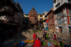Patan Palace Square. In addition to the old palace, the temples everywhere, is Nepal's most amazing Niu Wali architecture of the big meets. Rectangular plaza Royalty Free Stock Images