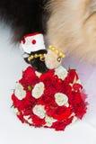 Patas dos pares do casamento do cão no ramalhete Fotos de Stock Royalty Free