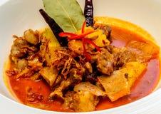 Patata amarilla de las chuletas de cerdo del cerdo del curry y cebolla frita Foto de archivo libre de regalías