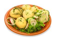 Patata con l'insalata del frash Immagine Stock