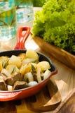 Patata con la cipolla e la carne Fotografia Stock