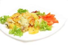Patata cotta con formaggio e le verdure Fotografia Stock