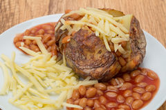 Patata cotta con i fagioli ed il formaggio Immagine Stock