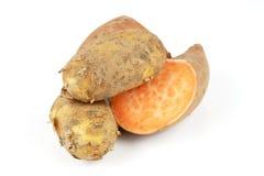Patata dolce con la patata fotografia stock