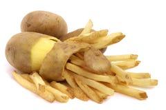 Patata e patate fritte sbucciate Fotografia Stock Libera da Diritti