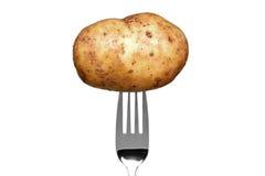 Patata en una fork aislada en blanco Fotografía de archivo libre de regalías