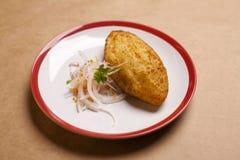 Patata farcita, alimento peruviano tipico Fotografie Stock