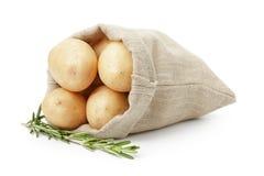 Patata joven fresca en bolso del saco con romero Imágenes de archivo libres de regalías