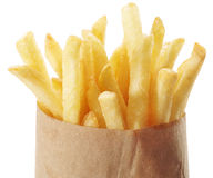 Patata - patatas fritas en un fondo blanco foto de archivo