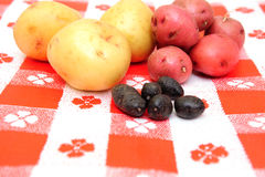 Patata peruviana bianca e viola di colore rosso, fotografie stock libere da diritti