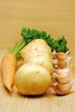 Patata, zanahoria y ajo Foto de archivo libre de regalías