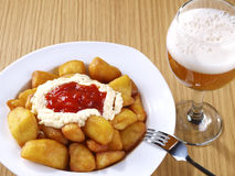Patatas Bravas – Hot spicy fried potatoes Stock Photos