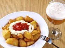 Patatas Bravas – Hot spicy fried potatoes Stock Photos