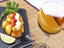 Patatas Bravas – Hot spicy fried potatoes Stock Photography